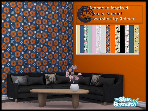 Japanese Inspired Wallpaper Paint sims 4 cc