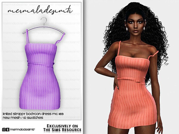 Knitted Strappy Bodycon Dress by mermaladesimtr from TSR
