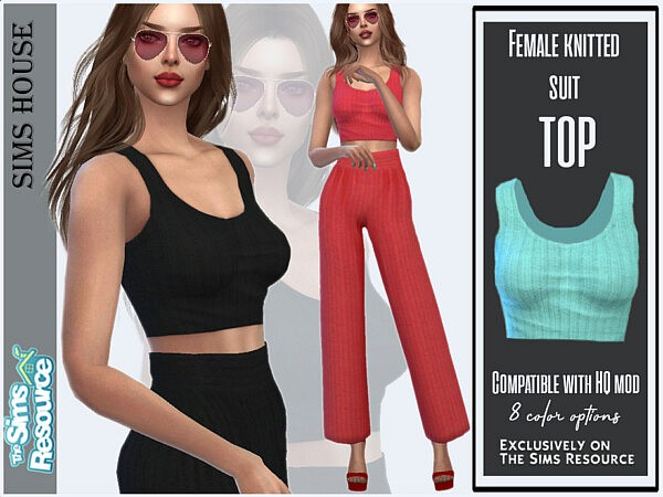 Knitted suit top sims 4 cc