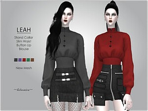 LEAH Stand Collar Blouse sims 4 cc