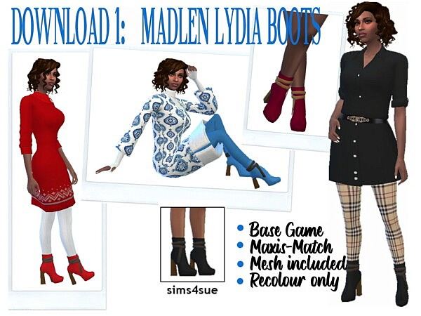 Ankle and Lydia Boots Recolored from Sims 4 Sue