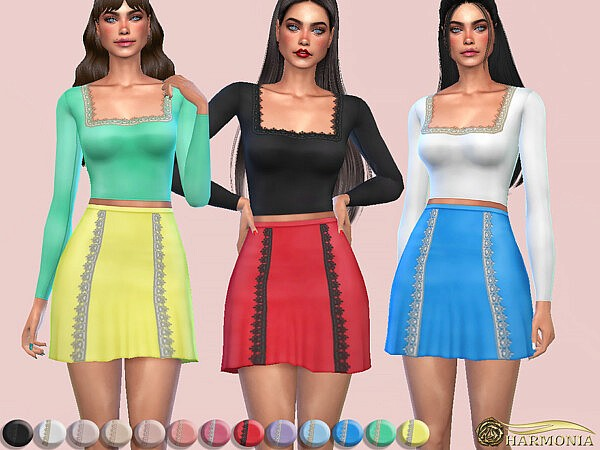 Lace Trim Square Neck Top sims 4 cc