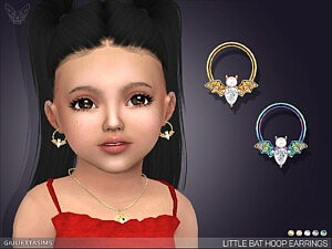 Little Bat Hoop Earrings For Toddlers sims 4 cc