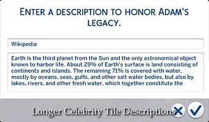 Longer Celebrity Tile Descriptions sims 4 cc