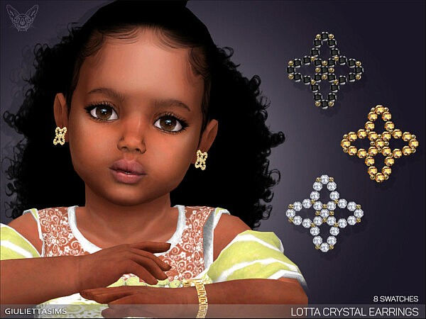 Lotta Crystal Earrings For Toddlers sims 4 cc
