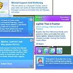 Mental Support and Wellbeing Lot Trait sims 4 cc