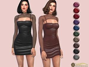 Mesh Layer Spaghetti Strap PU Bodycon Dress sims 4 cc