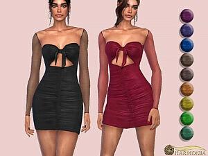 Mesh Sleeve Knot Detail Bodycon Dress sims 4 cc