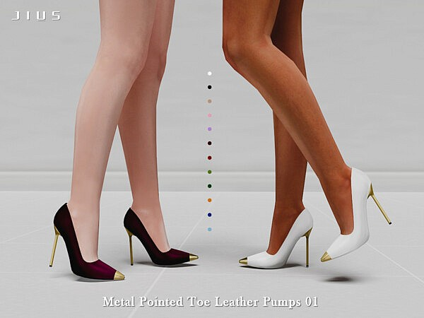 Metal Pointed Toe Leather Pumps 01 sims 4 cc
