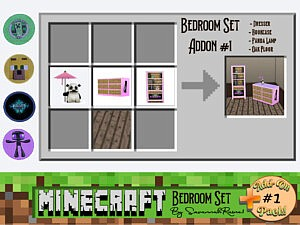 Minecraft Bedroom Set Add On Pack 1 sims 4 cc
