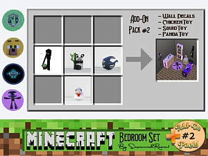 Minecraft Bedroom Set Add On Pack 2 sims 4 cc