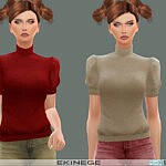 Mock Neck Puff Sleeve Sweater sims 4 cc