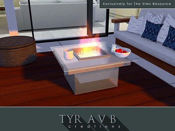 Modern Glass Fire Pit sims 4 cc