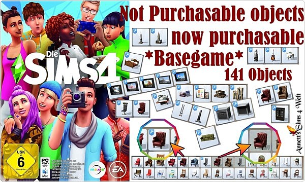 Not Purchasable objects now purchasable Basegame sims 4 cc