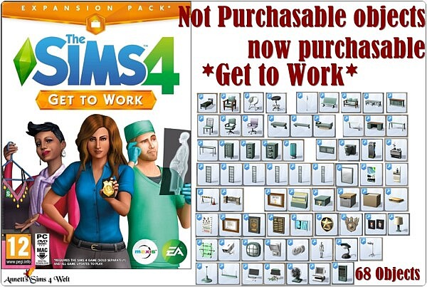 Not Purchasable objects now purchasable Get to Work sims 4 cc
