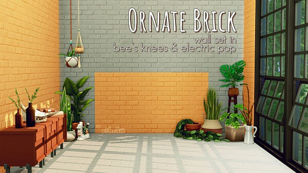 Ornate Brick Wall Set sims 4 cc