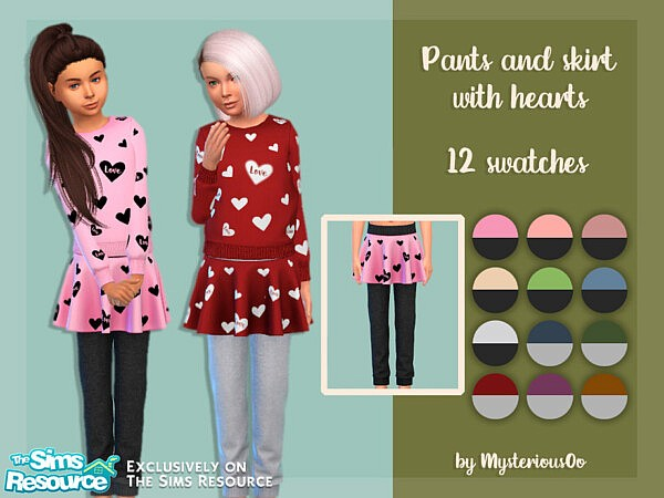 Pants and skirt with hearts sims 4 cc
