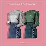 Pearl Kintwear and Pearl Denim Skirt sims 4 cc