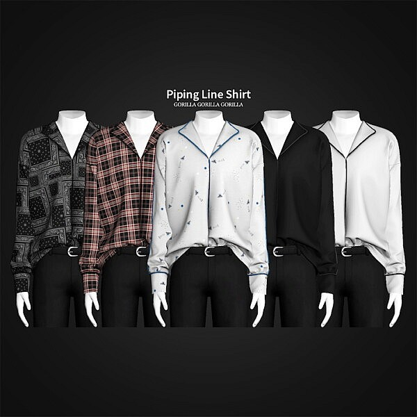 Piping Line Shirt sims 4 cc