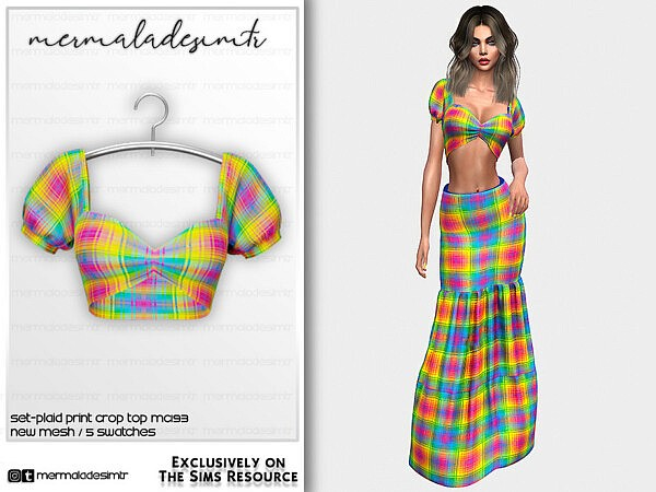 Plaid Print Crop Top sims 4 cc