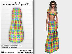 Plaid Print Maxi Skirt sims 4 ccc