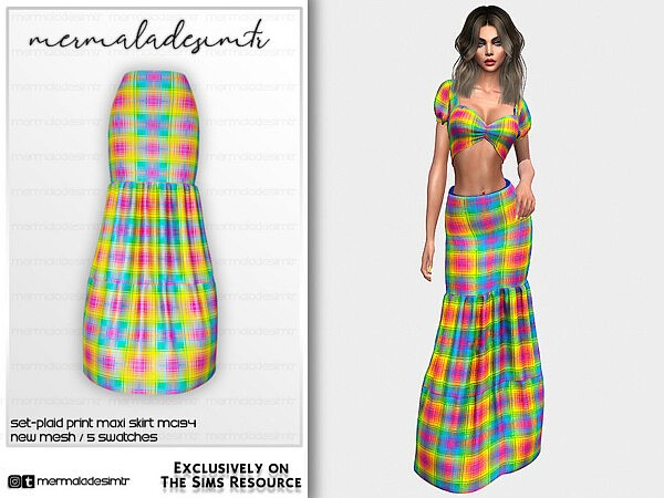 Plaid Print Maxi Skirt sims 4 ccc
