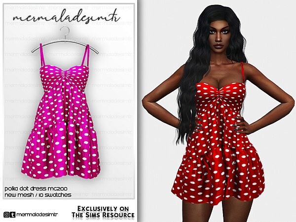 Polka Dot Dress MC200 sims 4 cc