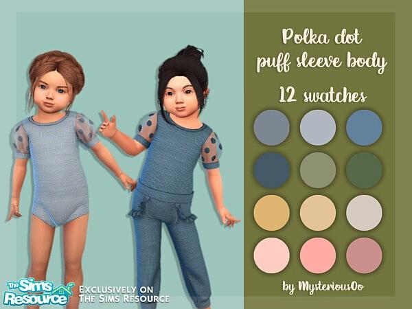 Polka dot puff sleeve body sims 4 cc