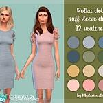 Polka dot puff sleeve dress sims 4 cc