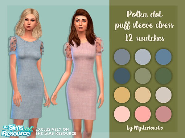 Polka dot puff sleeve dress sims 4 cc