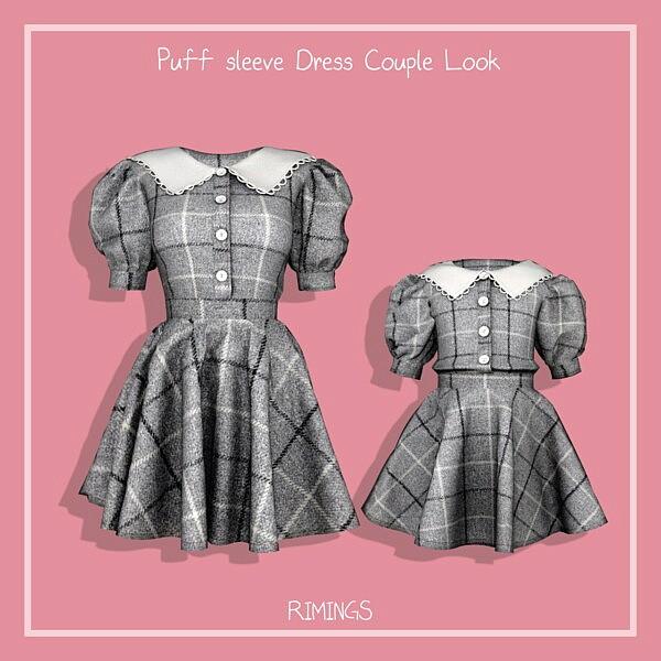 Puff sleeve Dress Couple Look sims 4 cc