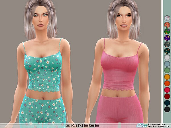 Ribbed Lace Trim Cami sims 4 cc