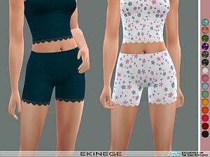 Ribbed Lace Trim Shorts sims 4 cc