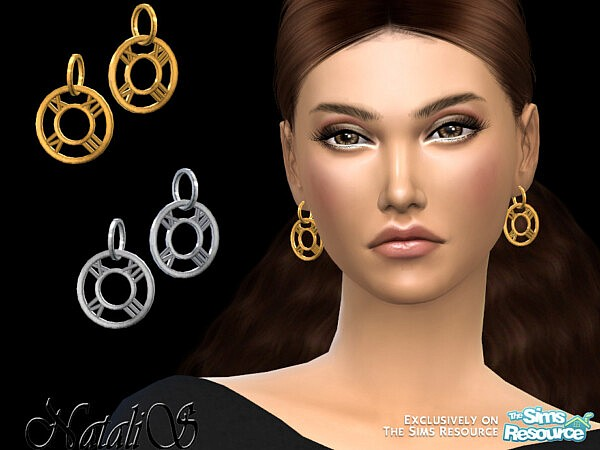 Roman numeral drop earrings sims 4 cc