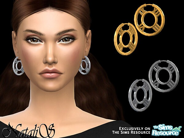 Roman numeral hoop earrings sims 4 cc
