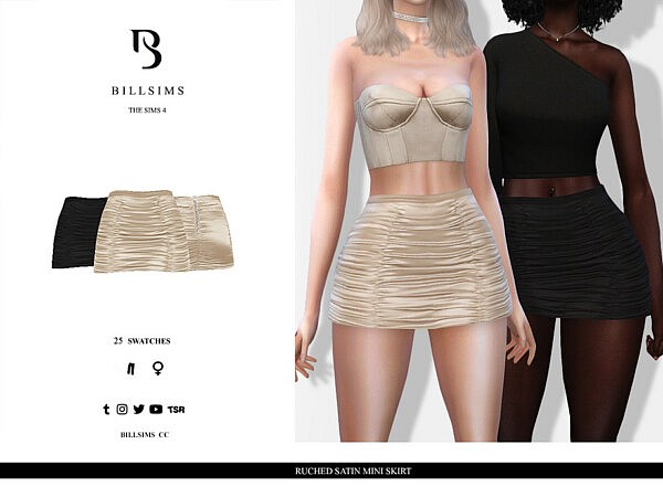 Ruched Satin Mini Skirt sims 4 cc