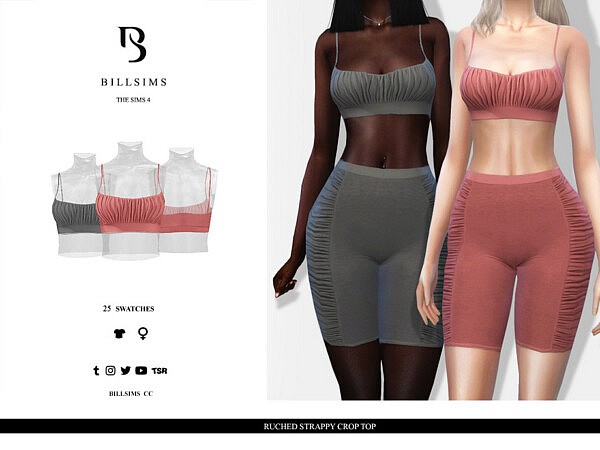 Ruched Strappy Crop Top sims 4 cc