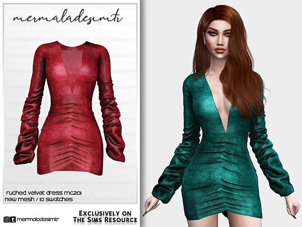 Ruched Velvet Dress MC201 sims 4 cc