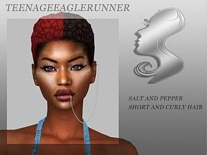 Salt and Pepper chort Curly Hair sims 4 cc