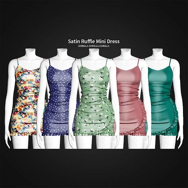 Satin Ruffle Mini Dress sims 4 cc