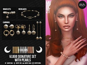 Signature Set with Pearls sims 4 cc