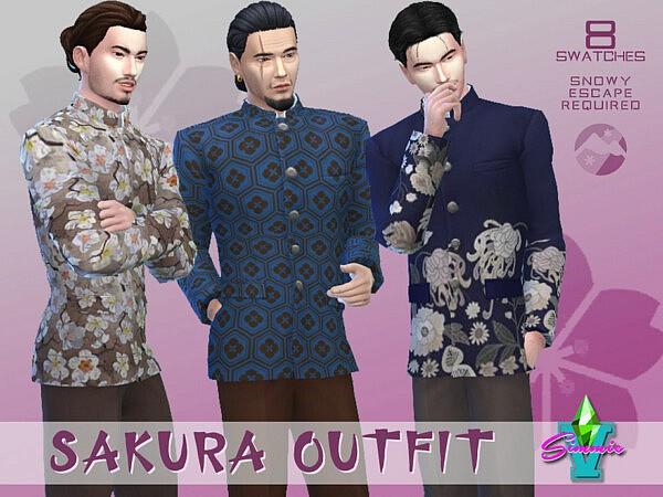 SimmieV Sakura Outfit sims 4 cc
