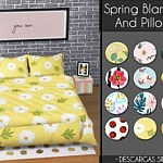 Spring Blankets And Pillows sims 4 cc