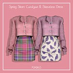 Spring Short Cardigan Sleeveless Dress sims 4 cc