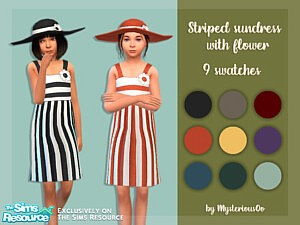 Striped sundress with flower sims 4 cc