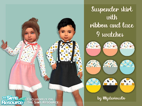 Suspender skirt with ribbon and lace sims cc