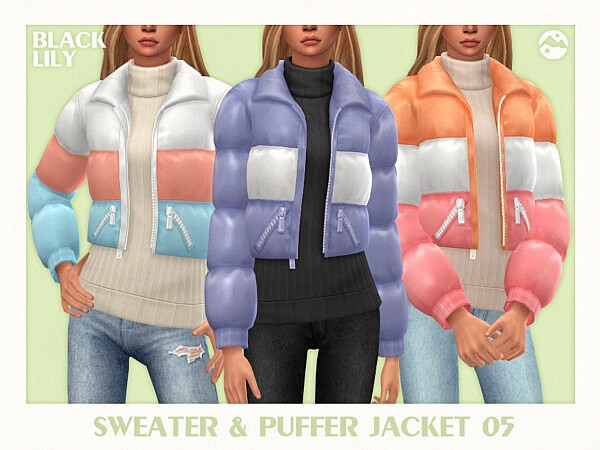 Sweater and Puffer Jacket 05 sims 4 cc