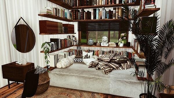 TINY LIBRARY ROOM sims 4 cc
