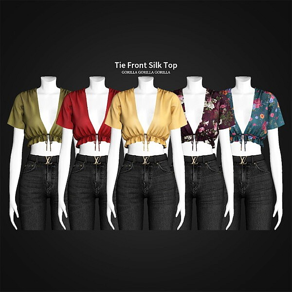 Tie Front Silk Top sims 4 cc