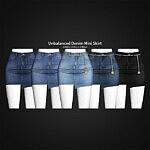 Unbalanced Denim Mini Skirt sims 4 cc